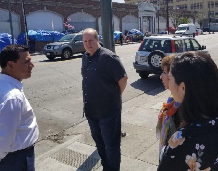 14th District City Councilmember Jose Huízar meeting with DID BID Chairman Mark Shinbane,  Executive Director Estela Lopez and Deputy Edna Degollado (l-r), touring the district.
