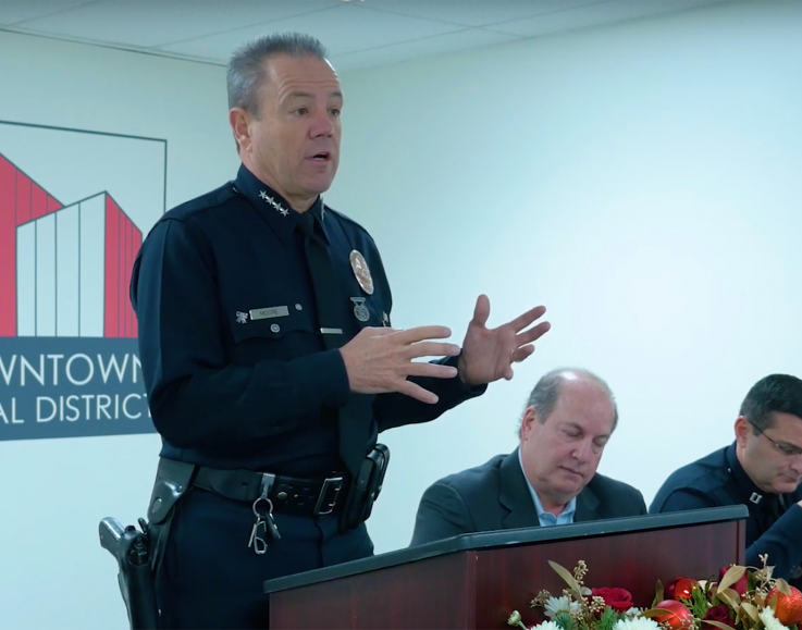 LAPD Chief Michel Moore speaking at the DID BID 2018 Annual Meeting